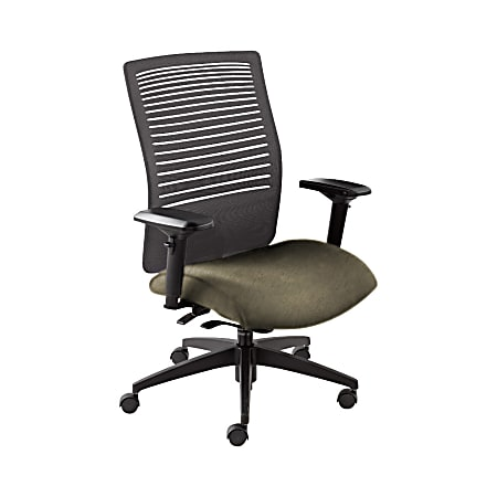"""Global® Loover Weight-Sensing Synchro Chair, Mid-Back, 39""""H x 25 1/2""""W x 24""""D, Sandcastle/Black"""