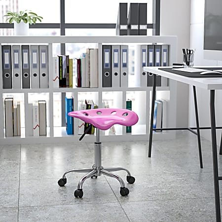 Flash Furniture Vibrant Tractor Seat Stool, Candy Heart/Chrome