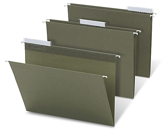 Office Depot® Brand Hanging Folders, 1/3 Cut, Letter Size, 100% Recycled, Green, Pack Of 25