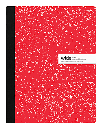 """Office Depot® Brand Composition Notebook, 9-3/4"""" x 7-1/2"""", Wide Ruled, 100 Sheets, Red"""
