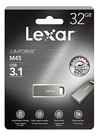 Lexar® JumpDrive® M45 USB 3.1 Flash Drive, 32GB, Silver, LJDM45-32GABSLNA