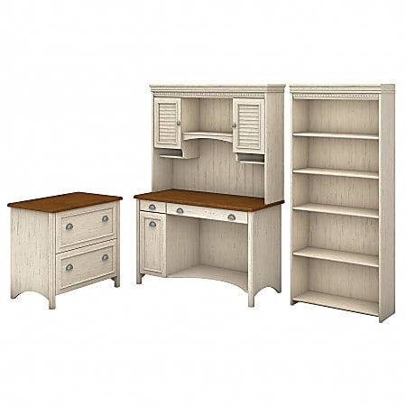 Bush Furniture Fairview Computer Desk With Hutch, Bookcase And Lateral File Cabinet, Antique White/Tea Maple, Standard Delivery
