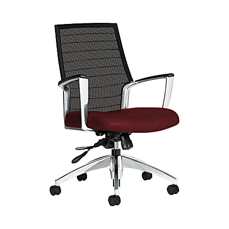 """Global® Accord Mesh Mid-Back Tilter Chair, 37""""H x 25""""W x 25""""D, Red Rose"""