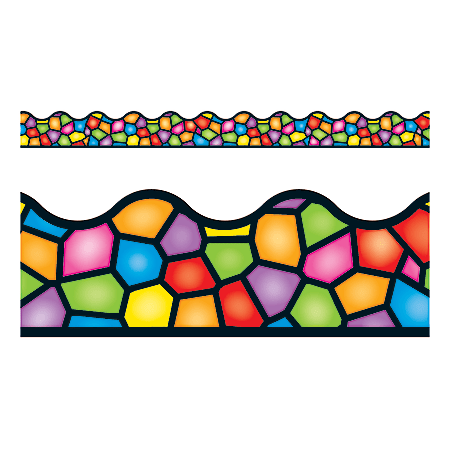 """TREND Terrific Trimmers® Borders, 2 1/4"""" x 39"""", Stained Glass, Pre-K - College, Pack Of 12"""