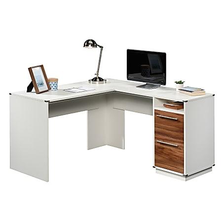 "Sauder® Vista Key 60""W L-Desk, Pearl Oak/Blaze Acacia"