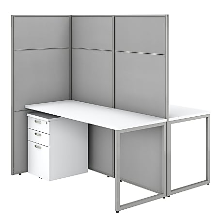"""Bush Business Furniture Easy Office 60""""W 2-Person Cubicle Desk With File Cabinets And 66""""Panels, Pure White/Silver Gray, Premium Installation"""