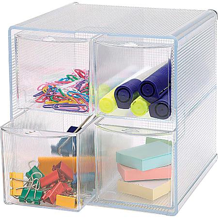 "Sparco® 4-Drawer Storage Organizer, 6""H x 6""W x 7 5/16""D, Clear"