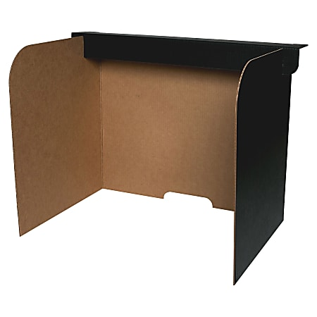 "Flipside Fold/Lock Desktop Privacy Screen - 47"" Width x 12"" Height47"" Length - Corrugated - Black, Brown - 24 / Pack"