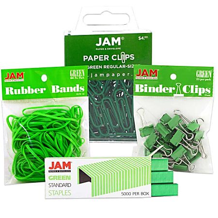JAM Paper® 4-Piece Desk Supply Kit, Green