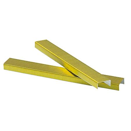 "JAM Paper® Standard Staples, 1/2"" Full Strip, Yellow, Box Of 5,000 Staples"