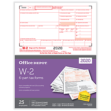 """Office Depot® Brand W-2 Laser Tax Forms, 2-Up, 6-Part, 8-1/2"""" x 11"""", Pack Of 25 Form Sets"""