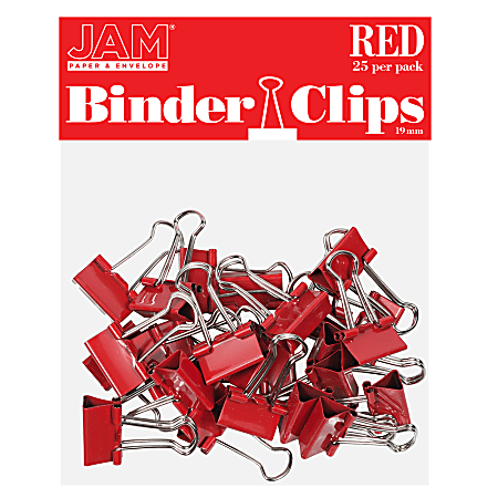 """JAM Paper® Designer Binder Clips, Small, 1/2"""" Capacity, Red, Pack Of 25 Clips"""