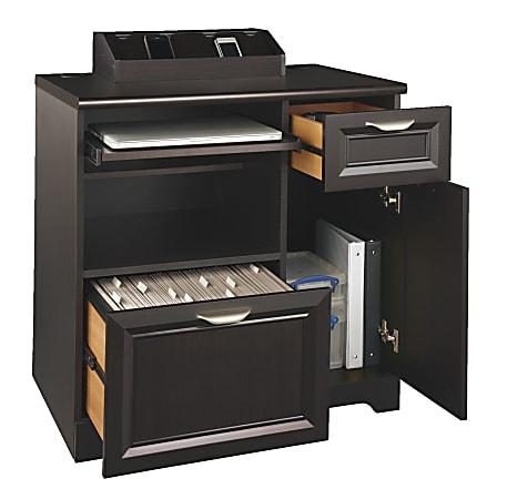 "Realspace® Magellan 29""W Tech Station Printer Stand, Espresso"