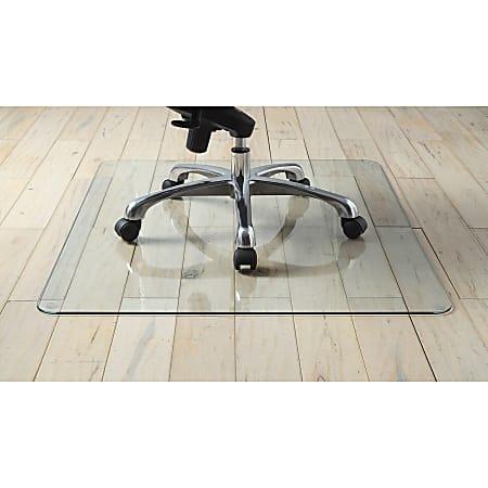 "Lorell® Tempered Glass Chair Mat, 44"" x 50"", Clear"