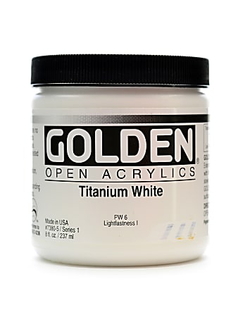 Golden OPEN Acrylic Paint, 8 Oz Jar, Titanium White