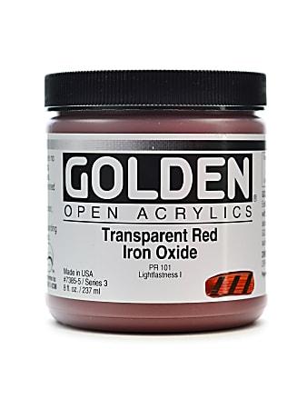 Golden OPEN Acrylic Paint, 8 Oz Jar, Transparent Red Iron Oxide