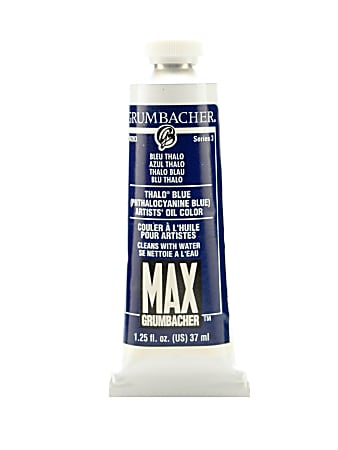 Grumbacher Max Water Miscible Oil Colors, 1.25 Oz, Thalo Blue, Pack Of 2