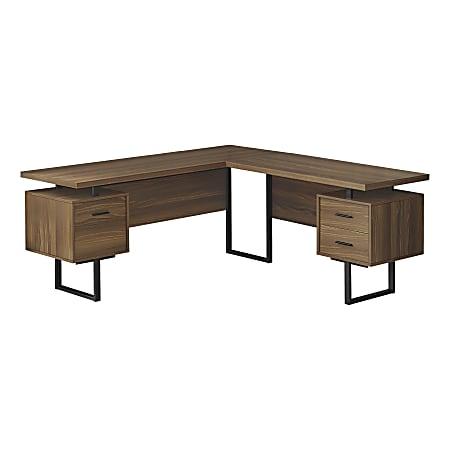 "Monarch Specialties Dallas 71""W L-Shaped Computer Desk, Walnut"
