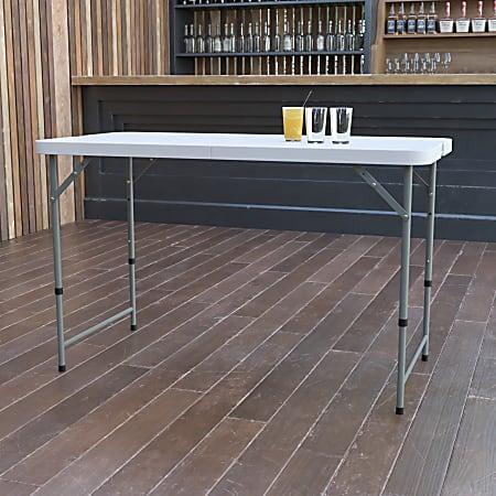 "Flash Furniture Height-Adjustable Bi-Fold Plastic Folding Table, 29-1/4""H x 23-3/4""W x 47-3/4""D, Granite White"