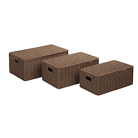 Honey-Can-Do Paper Rope Baskets, Medium Size, Taupe, Set Of 3