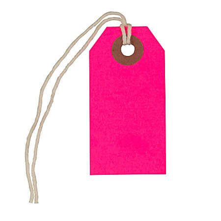 """JAM Paper® Tiny Gift Tags, 3-3/8"""" x 2-3/4"""", Pink, Pack Of 10 Tags"""