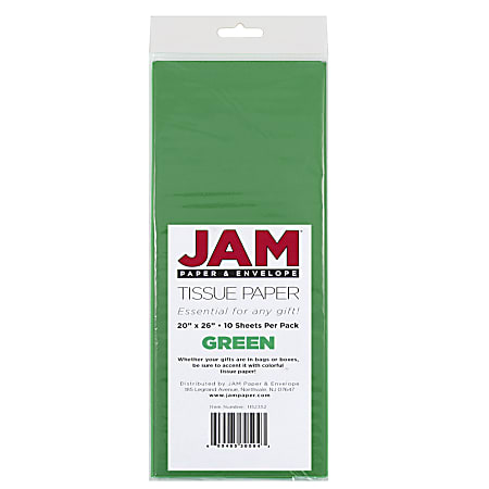 """JAM Paper® Tissue Paper, 26""""H x 20""""W x 1/8""""D, Green, Pack Of 10 Sheets"""