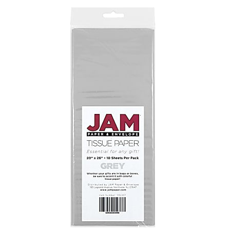 """JAM Paper® Tissue Paper, 26""""H x 20""""W x 1/8""""D, Gray, Pack Of 10 Sheets"""