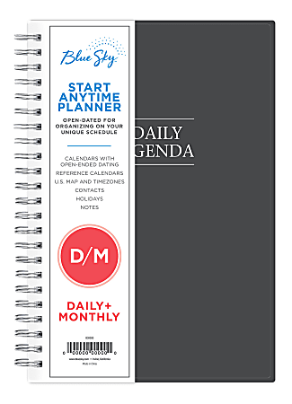"""Blue Sky™ Daily/Monthly PP Planner, 8-1/2"""" x 5-1/2"""", Passages, January To December 2021, 113565"""