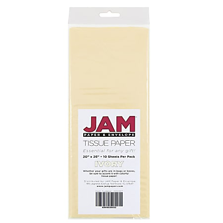 """JAM Paper® Tissue Paper, 26""""H x 20""""W x 1/8""""D, Ivory, Pack Of 10 Sheets"""