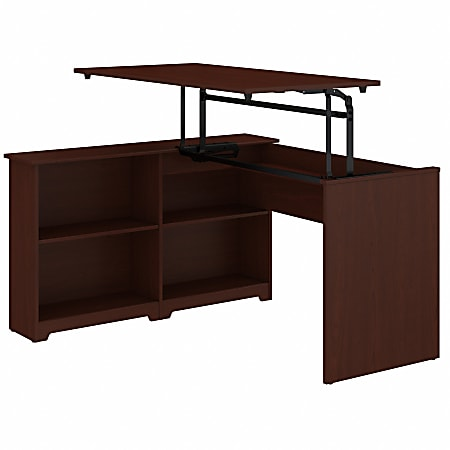"Bush Furniture Cabot 3 Position Sit to Stand Corner Bookshelf Desk, 52""W, Harvest Cherry, Standard Delivery"