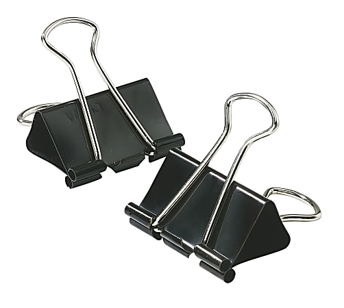 """Office Depot® Brand Binder Clips, Small, 3/4"""" Wide, 3/8"""" Capacity, Black, 12 Clips Per Box, Pack Of 12 Boxes"""