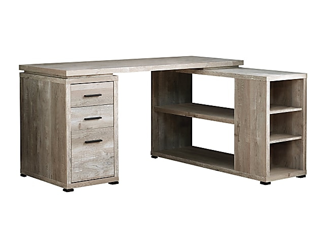 Monarch Specialties L-Shaped Computer Desk With Bookshelf, Taupe Woodgrain