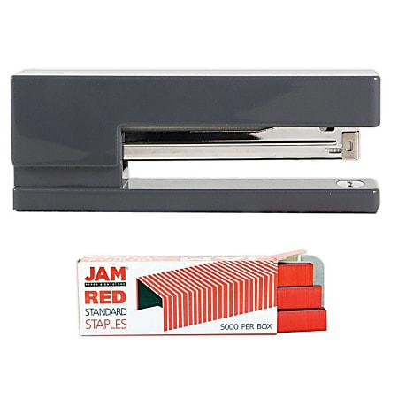 JAM Paper® 2-Piece Office Stapler Set, 1 Stapler & 1 Pack of Staples, Gray/Red