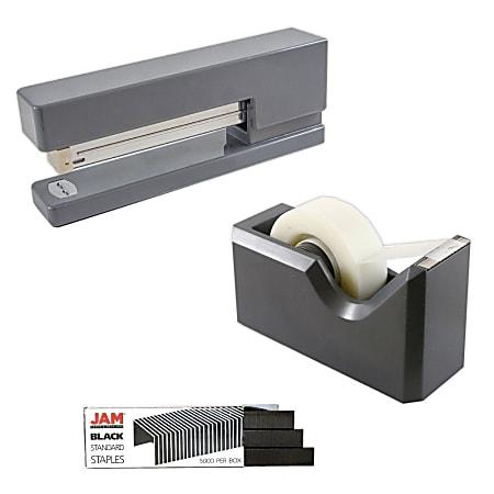 JAM Paper® 2-Piece Office And Desk Set, 1 Stapler & 1 Tape Dispenser, Gray/Black
