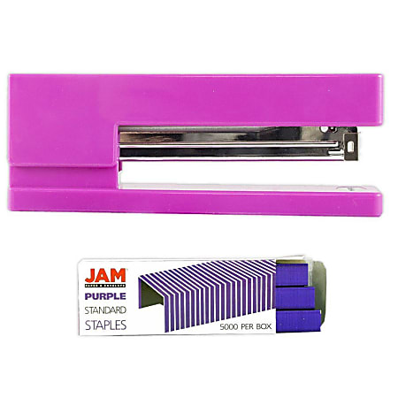 JAM Paper® 2-Piece Office Stapler Set, 1 Stapler & 1 Pack of Staples, Pink/Purple