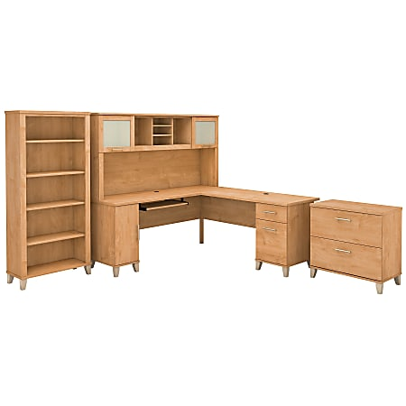 """Bush Furniture Somerset 72""""W L Shaped Desk With Hutch, Lateral File Cabinet And Bookcase, Maple Cross, Standard Delivery"""