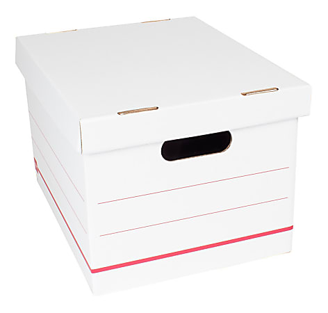 """Office Depot® Brand Standard-Duty Corrugated Storage Boxes, Letter/Legal Size, 15"""" x 12"""" x 10"""", 60% Recycled, White/Red, Case Of 12"""