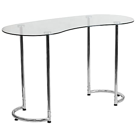 """Flash Furniture 48""""W Curved Contemporary Computer Desk, Clear/Chrome"""