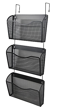"""Office Depot® Brand Mesh Hanging Wall Files, 33-1/8""""H x 14""""W x 3-3/4""""D, Black, Pack Of 3 Files"""
