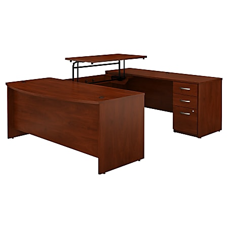 """Bush Business Furniture Components Elite 72""""W 3 Position Sit to Stand Bow Front U Shaped Desk with 3 Drawer File Cabinet, Hansen Cherry, Standard Delivery"""