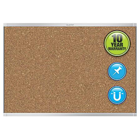 "Quartet® Prestige™ 2 Magnetic Cork Bulletin Board, 96"" x 48"", Aluminum Frame With Silver Finish"