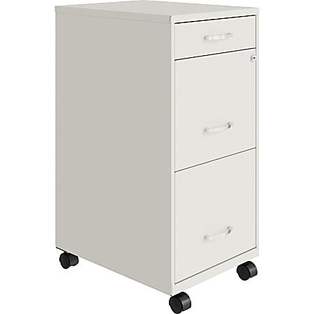 "Lorell® SOHO 18""D Vertical 3-Drawer Mobile File Cabinet, White"
