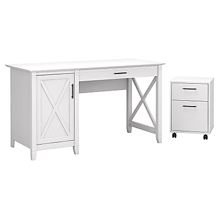 "Bush Furniture Key West 54""W Computer Desk With Storage And 2-Drawer Mobile File Cabinet, Pure White Oak, Standard Delivery"