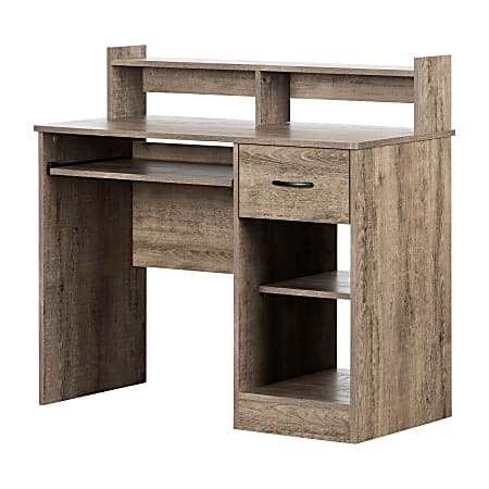 """South Shore Axess 41""""W Desk With Keyboard Tray, Weathered Oak"""