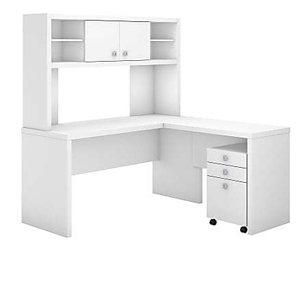 kathy ireland® Office by Bush Business Furniture Echo L Shaped Desk With Hutch And Mobile File Cabinet, Pure White, Premium Installation