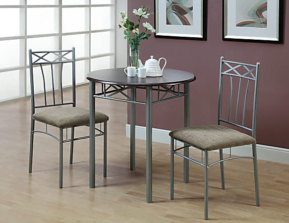 """Monarch Specialties 30"""" Round Table With 2 Vertical-Slat Bistro Chairs, Cappuccino/Silver"""