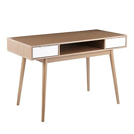 "LumiSource Pebble 48""W Double Desk, Natural/White"