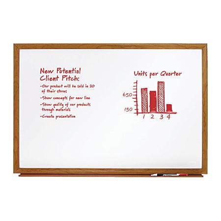 "FORAY™ Melamine Dry-Erase Board, 24"" x 36"", Oak Frame"