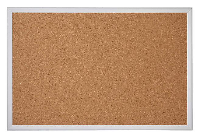 "Office Depot® Brand Cork Bulletin Board, 18"" x 24"", Aluminum Frame With Silver Finish"