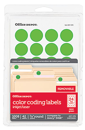 """Office Depot® Brand Removable Round Color-Coding Labels, OD98787, 3/4"""" Diameter, Green Neon, Pack Of 1,008"""